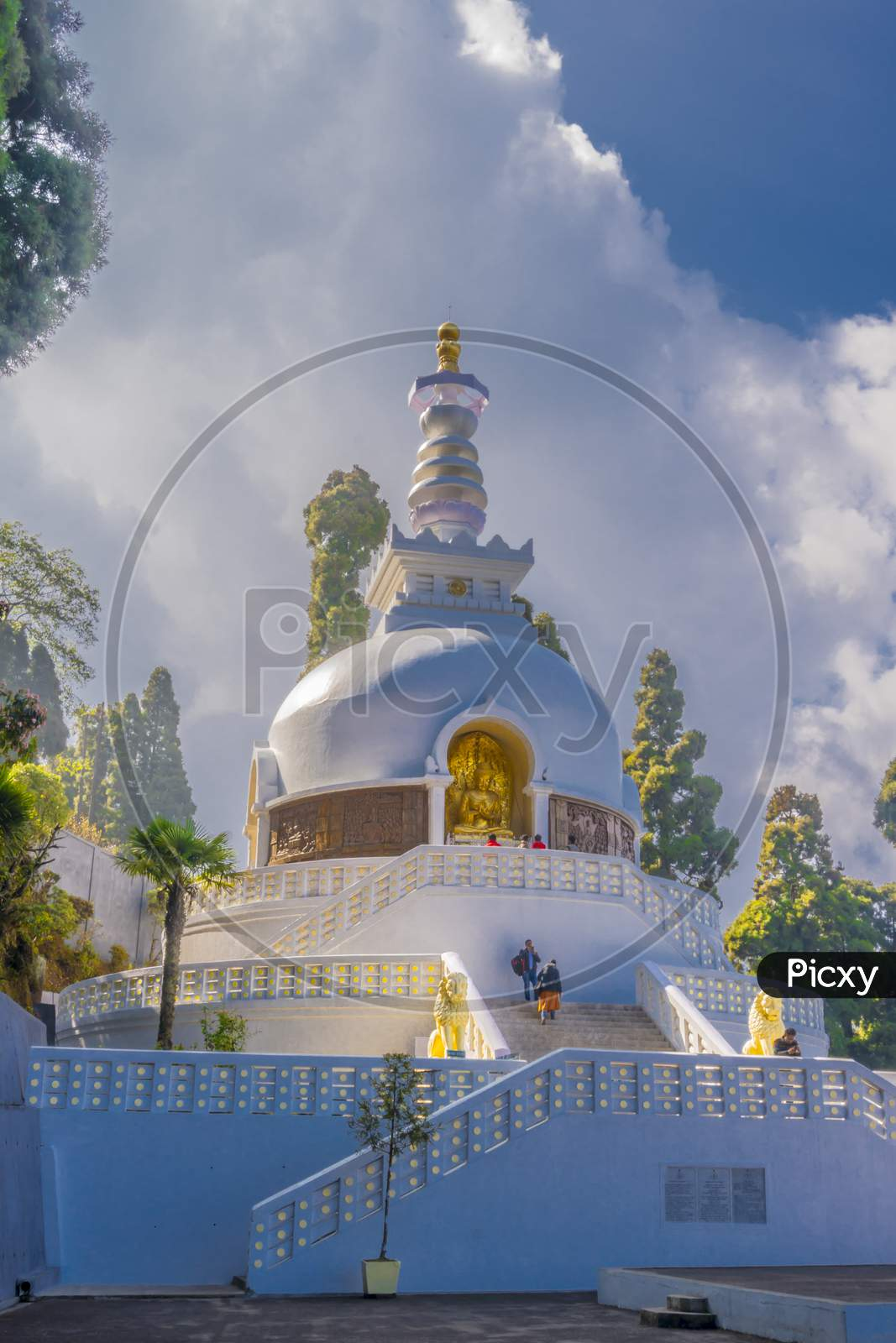 Japanese Peace Pagoda, Sightseeing In Darjeeling, Buddhist Temple, Morning Full Of Clouds