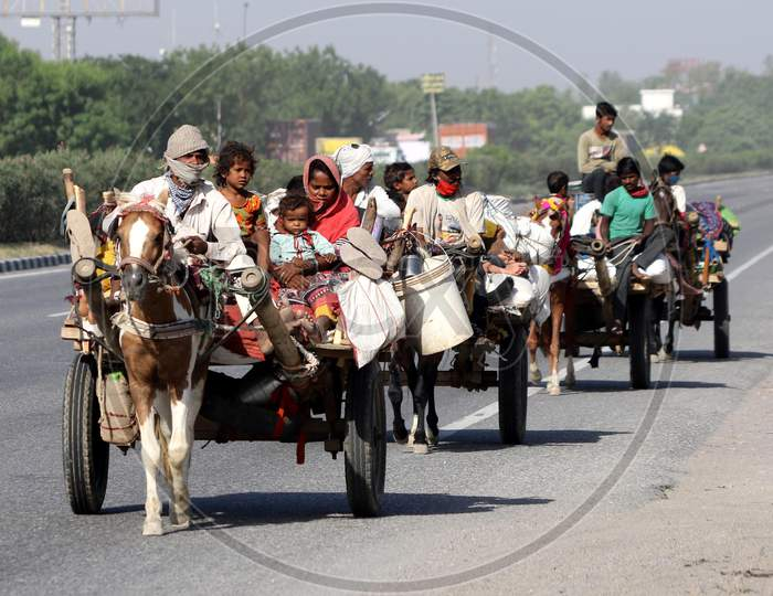 Migrant Families Travelling On Horse Carts To Their Native Places On Jaipur-Ajmer National Highway During Extended Nationwide Lockdown Amidst Coronavirus Or COVID-19 Pandemic in Jaipur On May 21, 2020