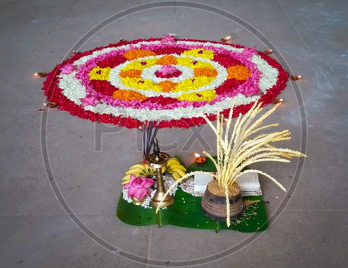 Pookalam Flower Rangoli Floral Decorations For Onam Festival Of Kerala India
