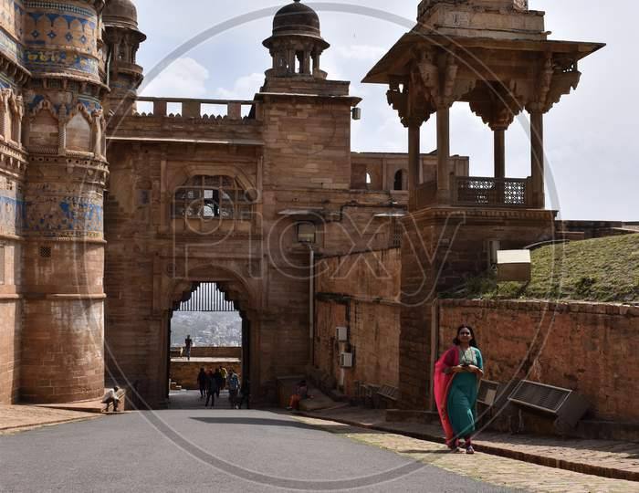 Gwalior, Madhya Pradesh/India : March 15, 2020 - Entrance Gate Of Gwalior Fort