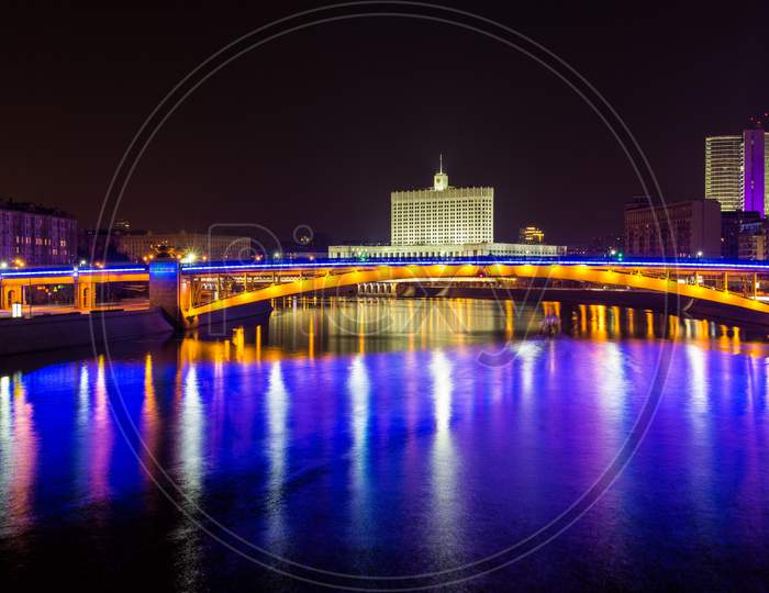 View Of Smolensky Metrobridge And White House In Moscow