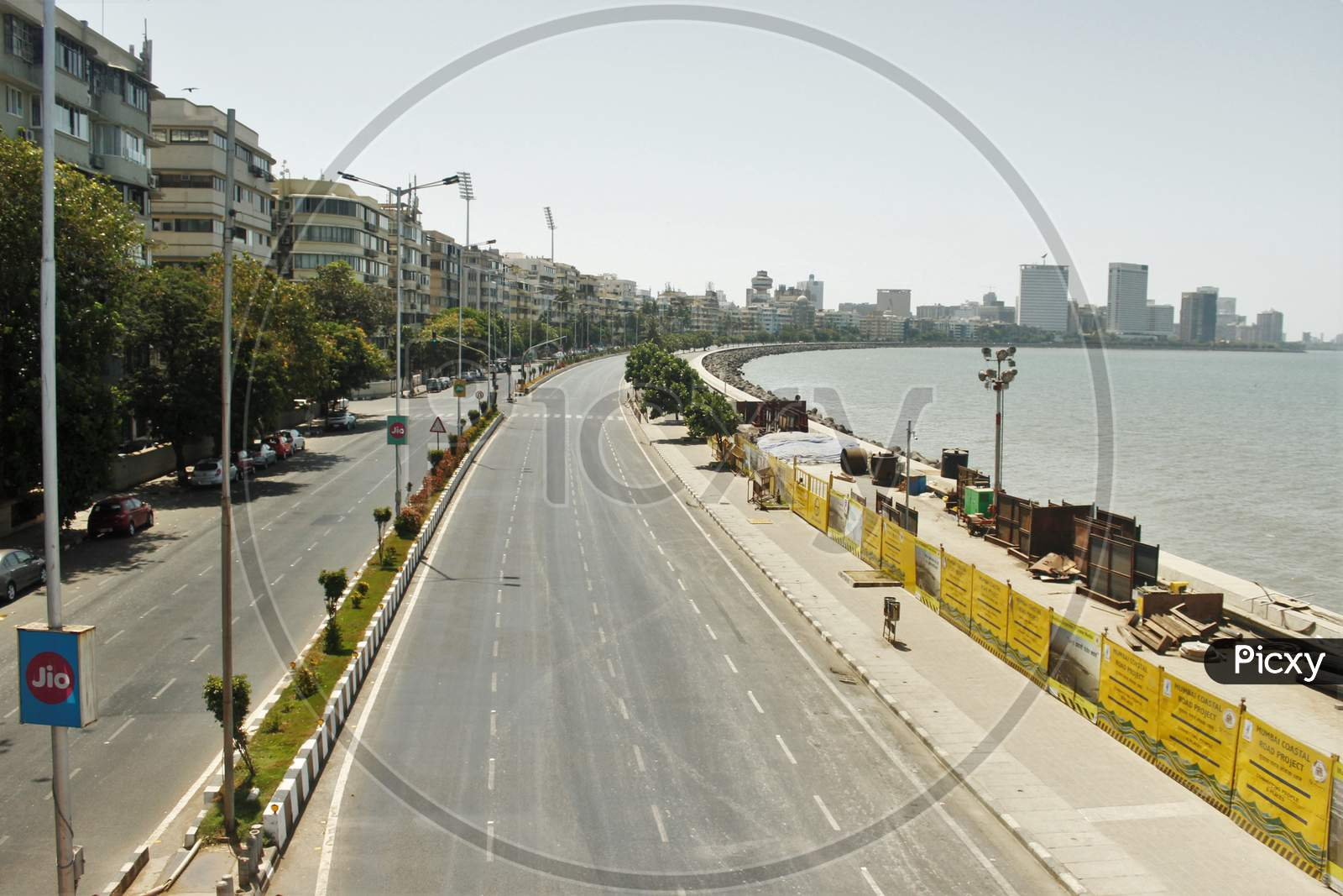 A View Of Deserted Roads Along Marine Drive During The 14-Hour Long Curfew To Limit The Spreading Of Coronavirus Disease (Covid-19) In The Country, In Mumbai, India On March 22, 2020.