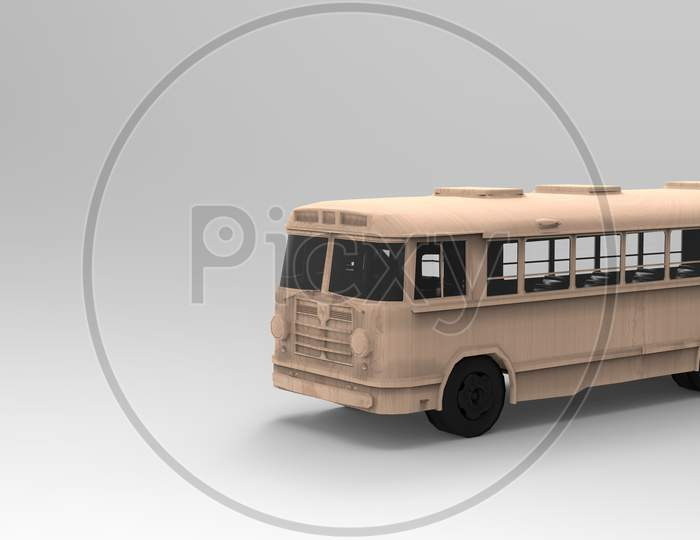 3D Render Of A Rusted Old Vintage Bus In White Background With Space For Text
