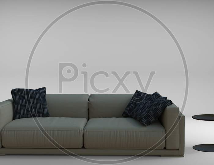 3D Render Of Couch Sofa Set With Cushions With Side Table. Concept Furniture For Interior Decoration