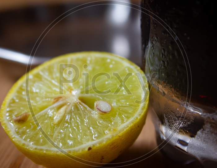 Beautiful Yellow Lemon Cut Into Half. Natural Food To Boost Immunity Against Cold And Flu.