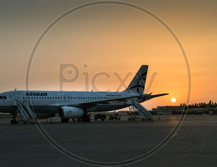 Aegean Airlines Airbus A320 airplane at Rhodes airport.