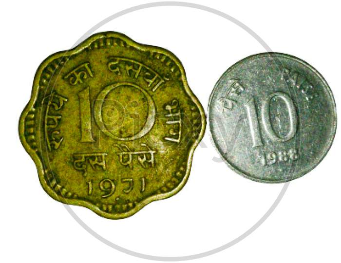 A picture of coins of 10 paise