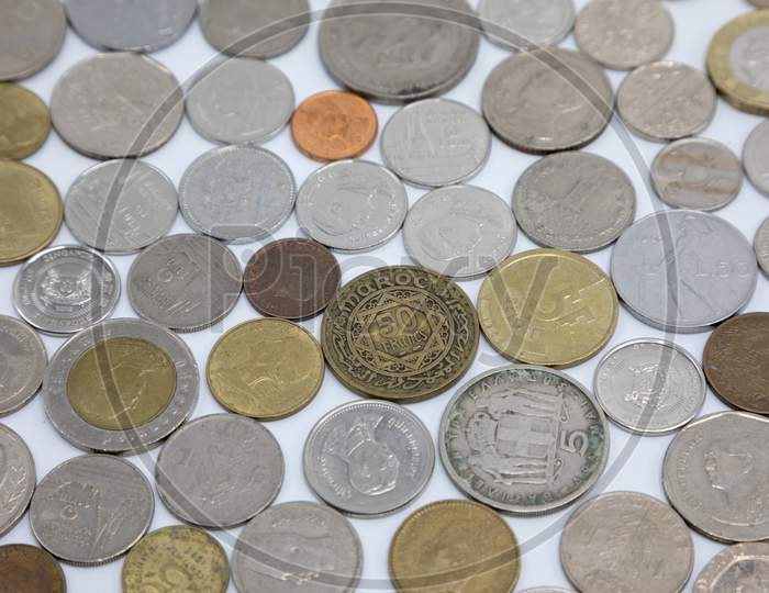 Currency Coins on White Background