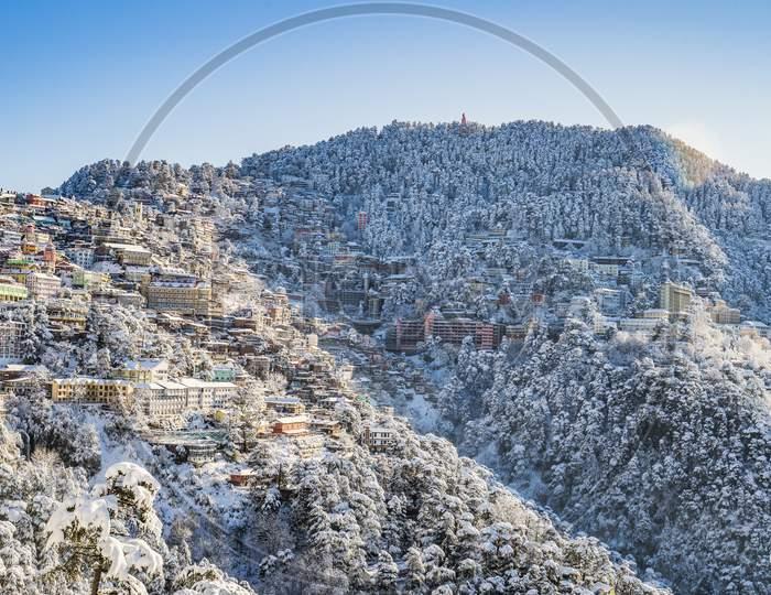 A Beautiful View of Shimla After Snowfall