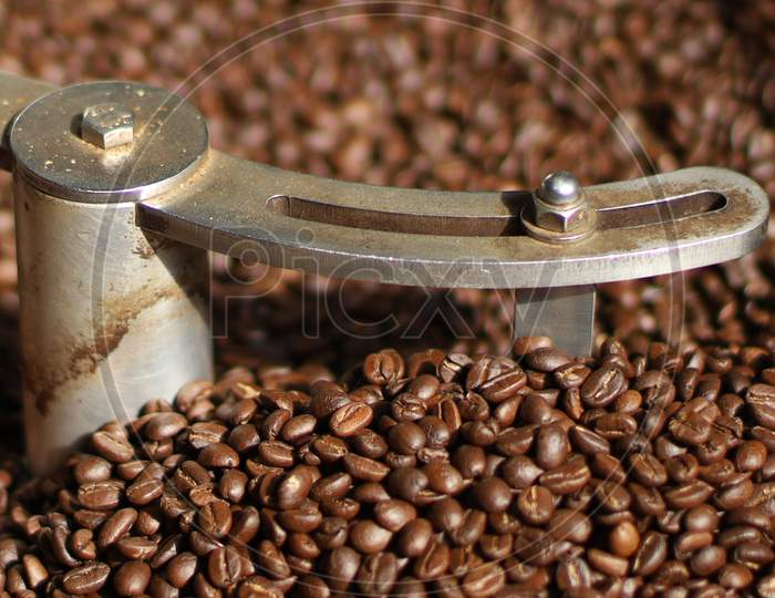 roasted coffee beans with background