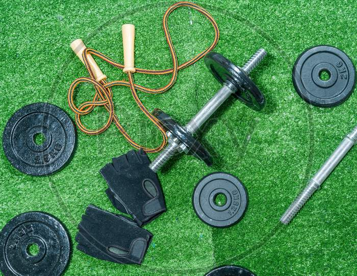 Dumbbells, Weight Discs, Gloves And Accessories For Sport, On The Grass, Fitness.