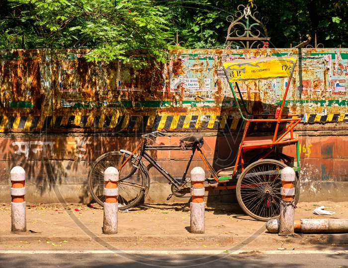 Old Time-Worn Bicycle Rickshaw, Streets Of New Delhi, India