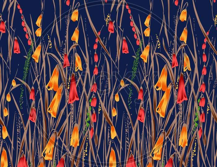 Decorative Flower Design With Navy Background