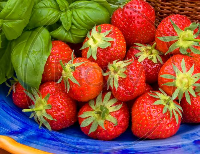 Organic strawberries from the garden