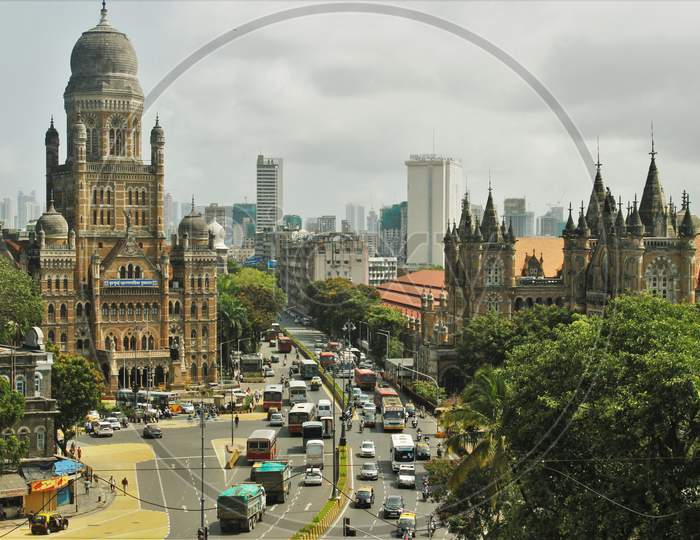 A general view of traffic at the Chhatrapati Shivaji Maharaj Terminus(CSMT)-Brihanmumbai Municipal Corporation (BMC) intersection after some of the restrictions were lifted during a nationwide lockdown, in Mumbai, India on June 9, 2020.