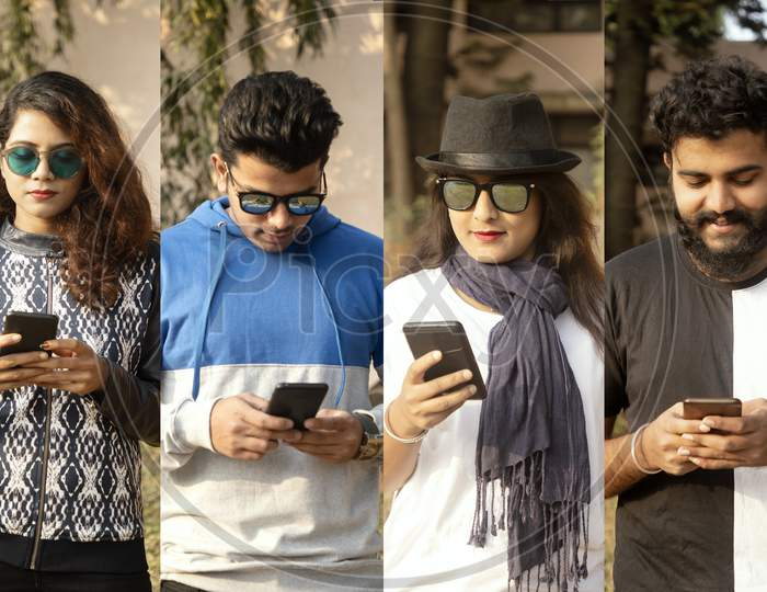 College Of People Busy On Mobile - Group Of Modern Trendy Millennials Using Smartphone - Concept Of Social Media, Internet, E Commerce, Technology Usage