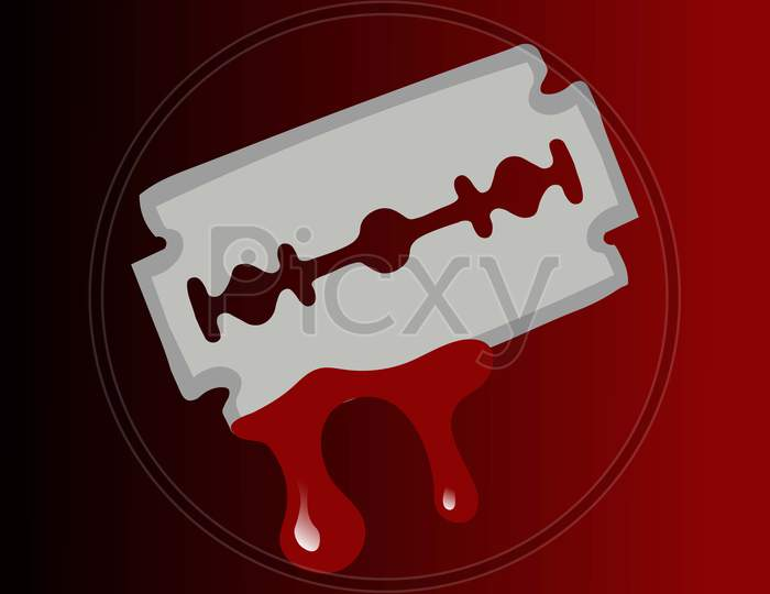 A vector illustration artwork of  Blade covering with blood. Stop Suicide concept.