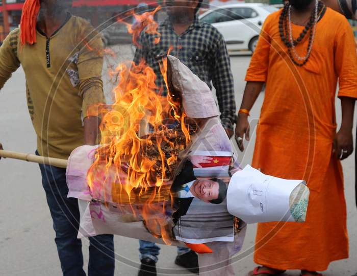 Supporters Of Bharatiya Jayanta Party (Bjp) Burn Posters and effigy of China's President Xi Jinping During A Protest Against China in Prayagraj on June 17, 2020 after a violent face off between Indian Army and Chinese PLA in Galwan Valley.