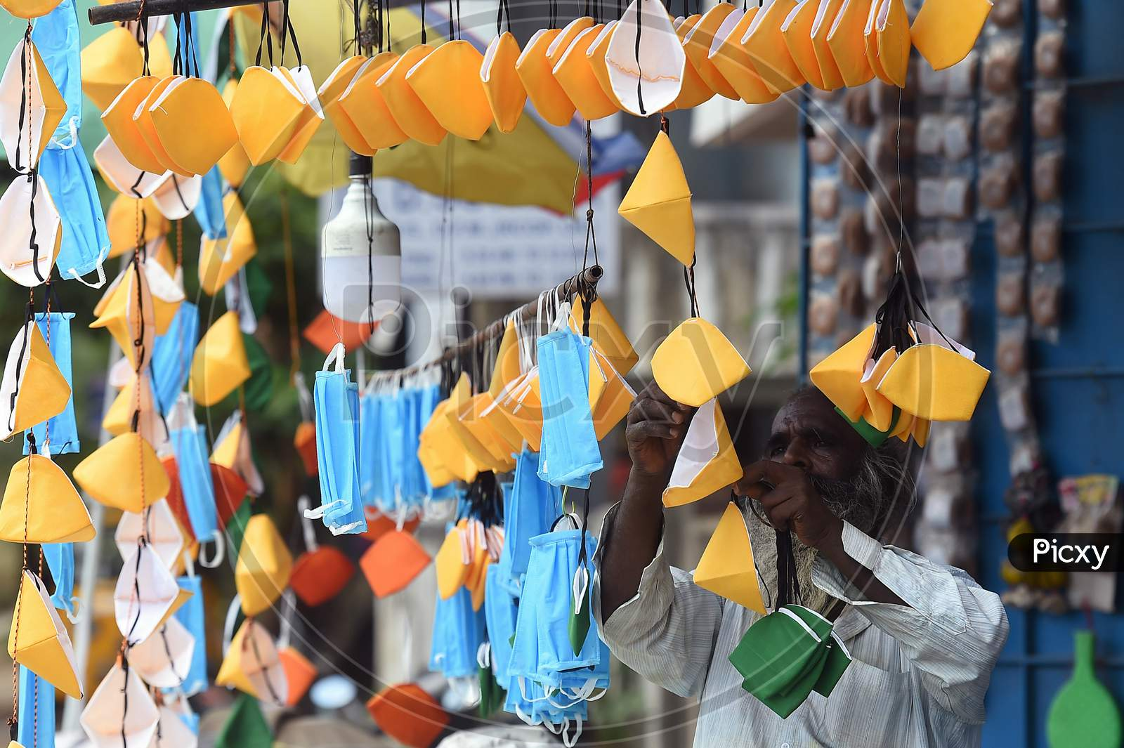 A Salesman Sells Masks At AShopDuring The Ongoing Covid-19 Lockdown In Chennai
