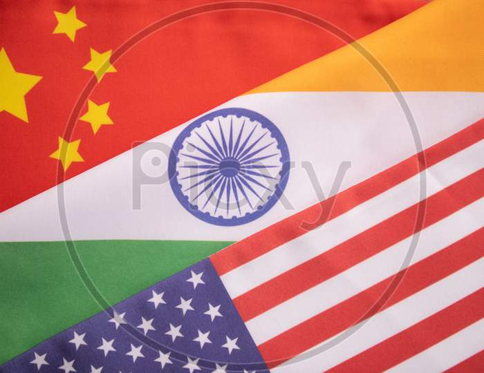 Concept of India, USA, and China relations showing with flags.