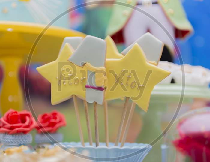 Decorated Table For Child Birthday Celebration. Close Up Of Decor Party.