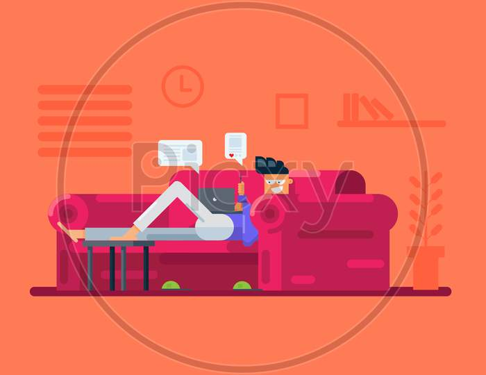 Working From Home Illustration, Boy Using Social Media On Laptop And Mobile Phone Inside Home Vector Illustration
