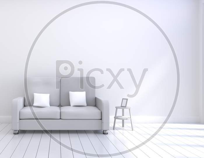 Modern Interior Design Of Living Room With Grey Sofa With White And Wooden Glossy Floor And Photo Frame. White Cushions Elements. Home And Living Concept. Lifestyle Theme. 3D Illustration Rendering.
