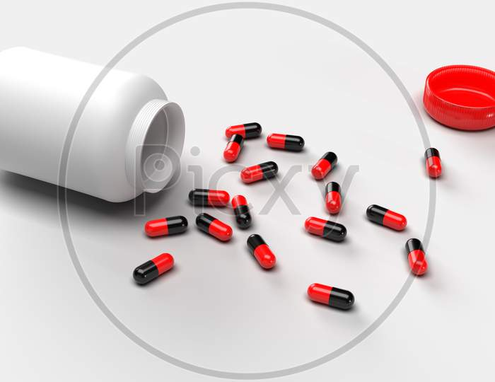Group Of Pills Medicine Spill From Bottle On White Background. Medical Research And Pharmacy Concept. Drug Addiction. Health Care Prescription Treatment. Supple Food Vitamin. 3D Illustration Render