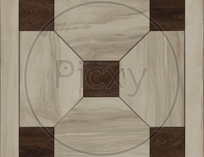 Geometric Pattern Floor And Wall Wooden Tile.