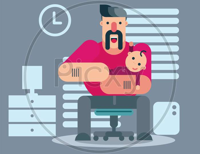 Father And His Baby Inside Home, Background, Father'S Day Vector Illustration