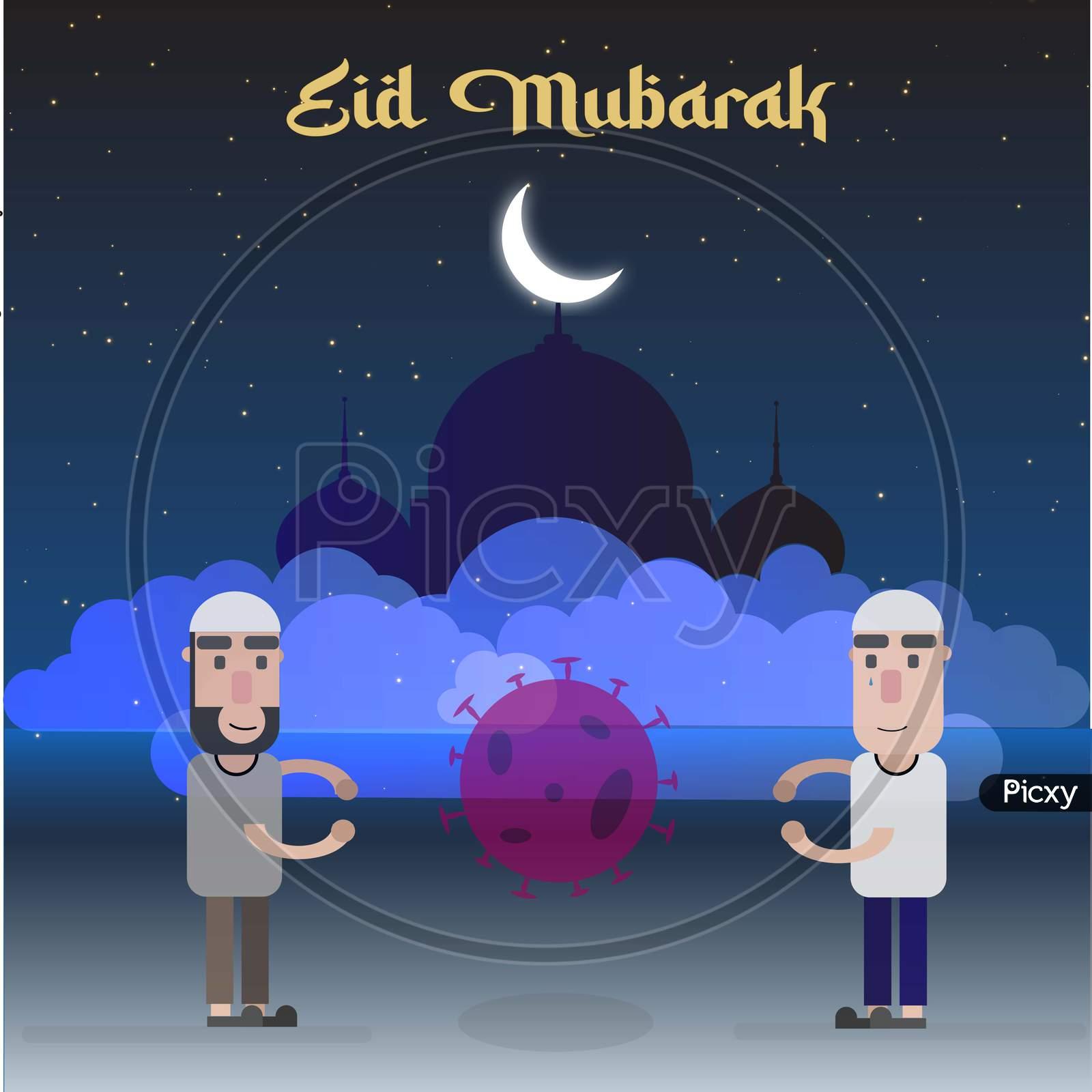 Eid Mubarak Illustration During Coronavirus Pandemic Poster Vector