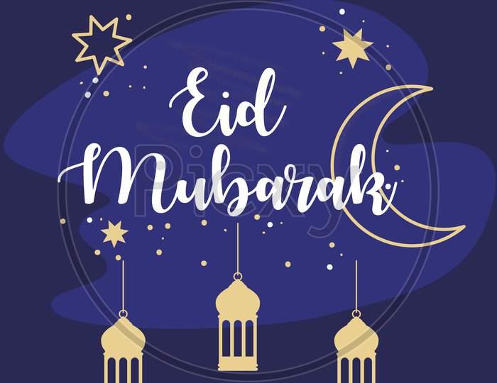 Eid Mubarak poster, banner greeting illustration vector