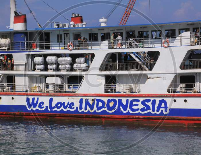 We Love Indonesia Text On Ferry Boat