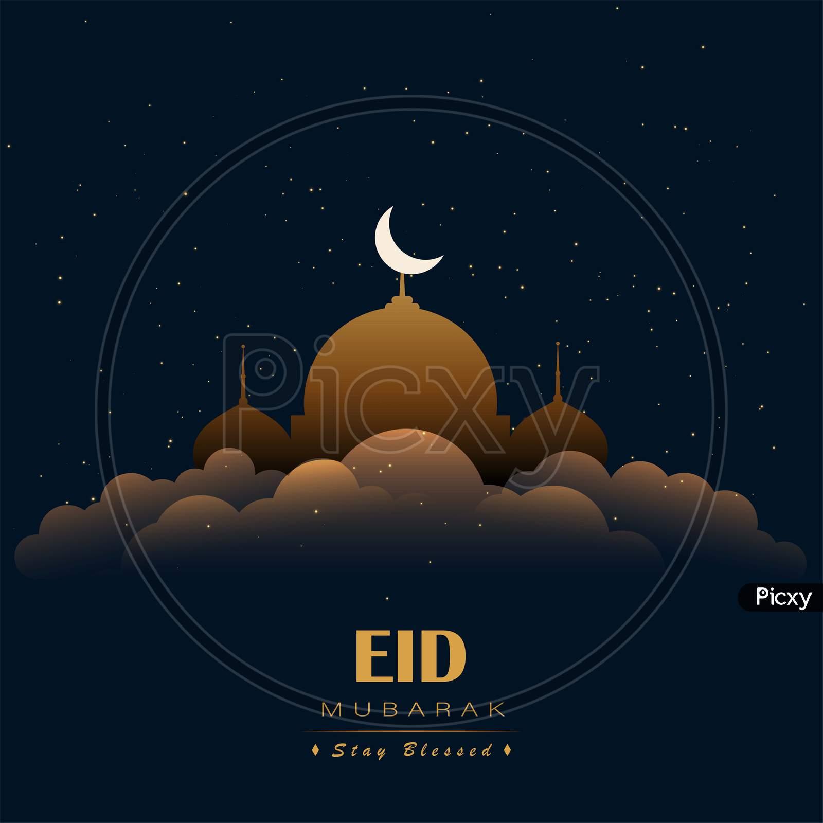 Eid Mubarak greeting poster, banner, card, illustration vector