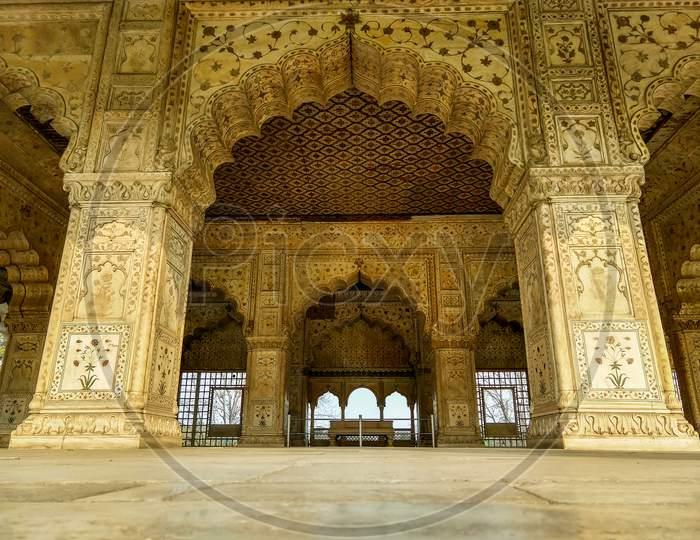 Diwan-E-Khas Inside Of Red Fort At Delhi, India