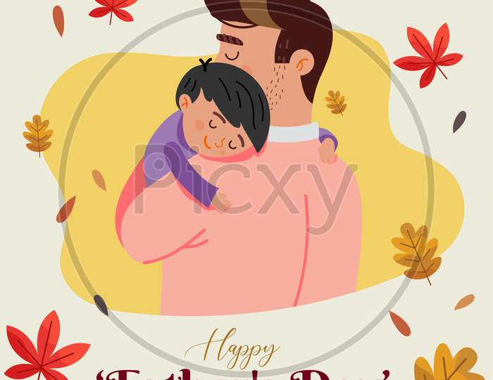 Father'S Day Flat Design, Art Dad And Son, Father And Child, Vector Illustration