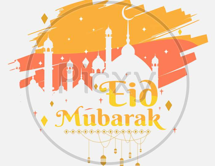 eid mubarak greeting poster, background with brush strokes illustration, vector