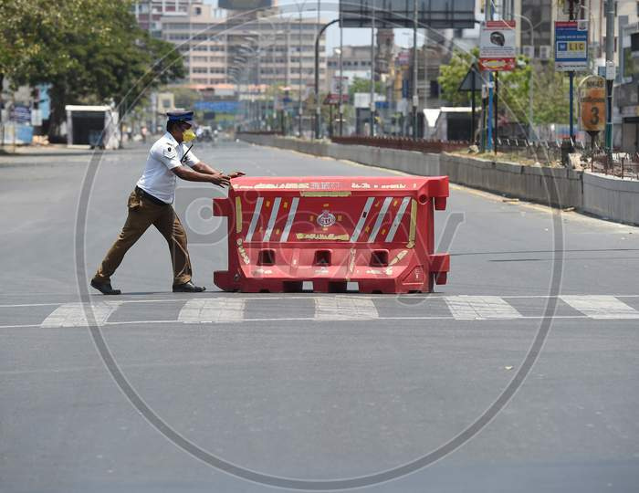 Mount road after a lockdown was reimposed as a preventive measure against the spread of the COVID-19 coronavirus, in Chennai