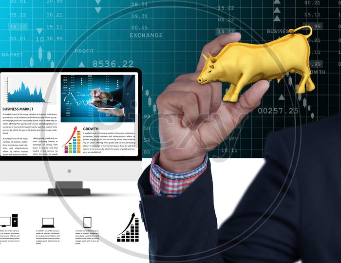 Man Hand Showing The Stock Market Bull