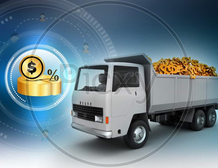 A Truck loaded with Dollar Symbols