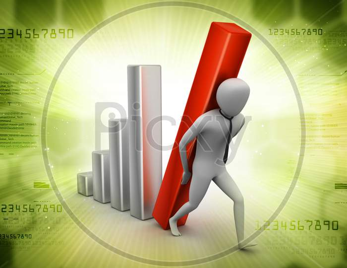 3D Man Holding Business Graph In Color Background