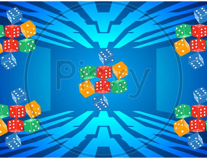 Digital Textile Design Of Rainbow Dices On Abstract Background