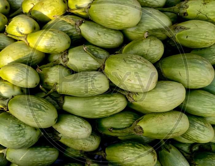 Stock Of Green Brinjal