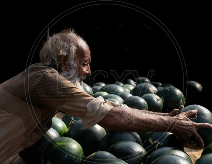 Watermelon Sellers Old Man At A Market In India .