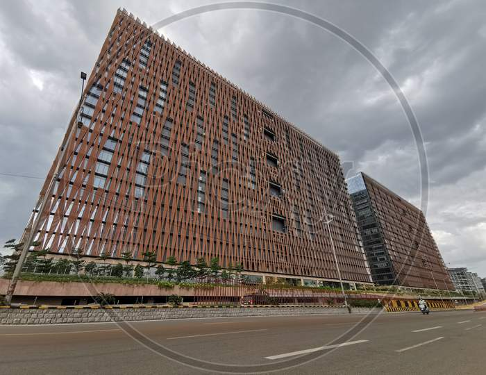 Wide angle view of Skyview Building