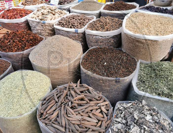 Indian Spices sold in a Kirana Store in Gokarna