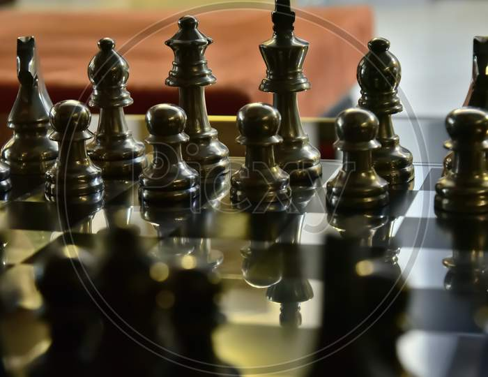 Chess board with black keys