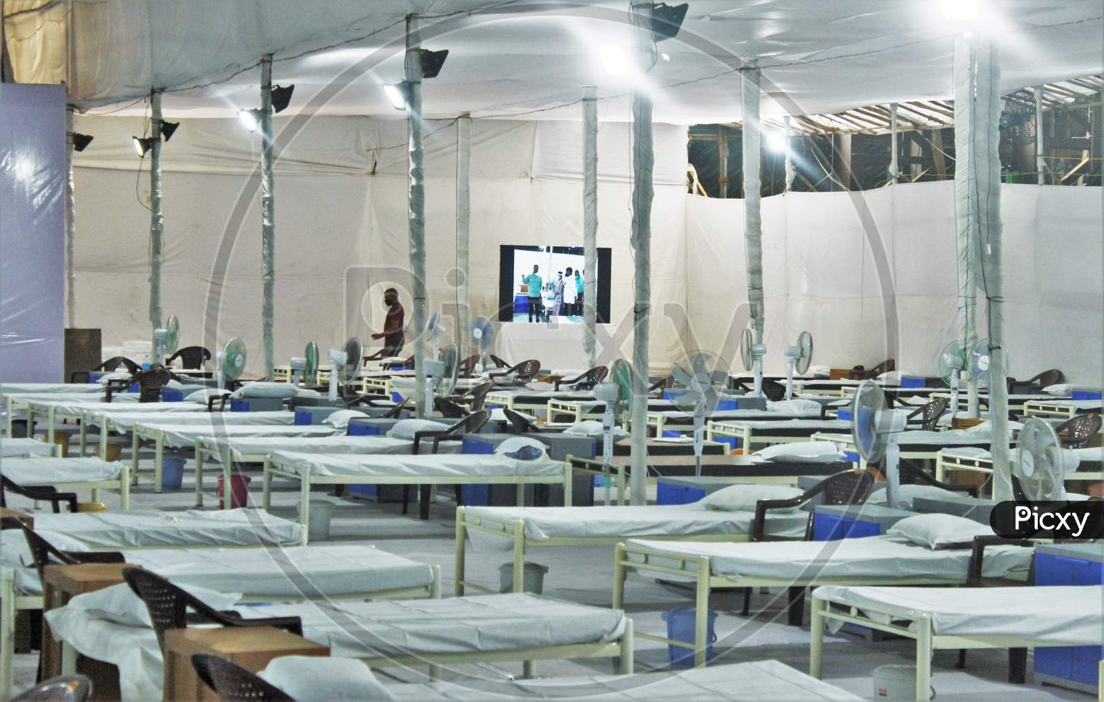 A Screen Is Put Up For The Entertainment Of The Covid-19 Patients At A Recently Constructed 1000 Beds Quarantine Facility, In Mumbai, India On June 22, 2020.