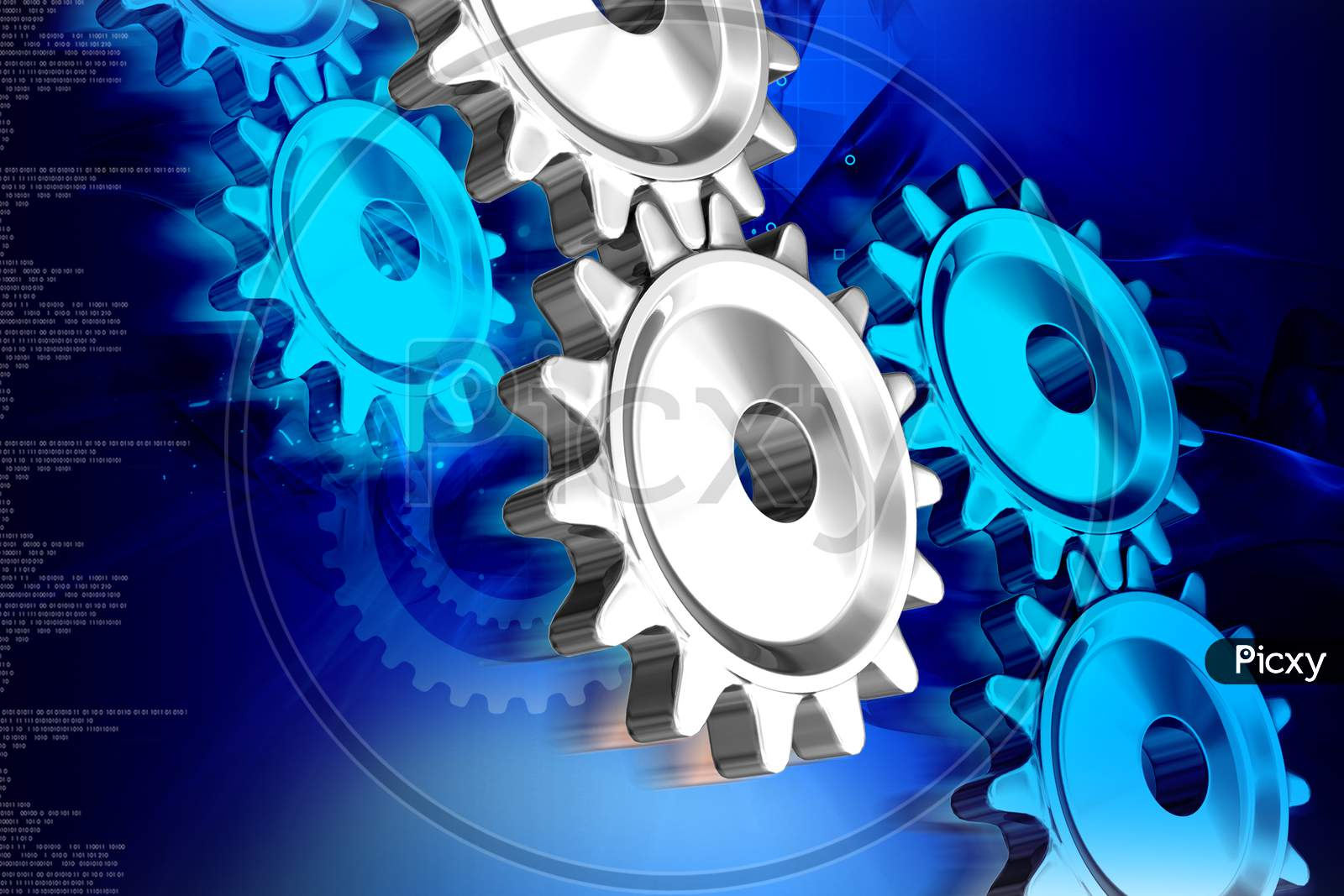 3D Illustration Of  Gear In Abstract Color Background