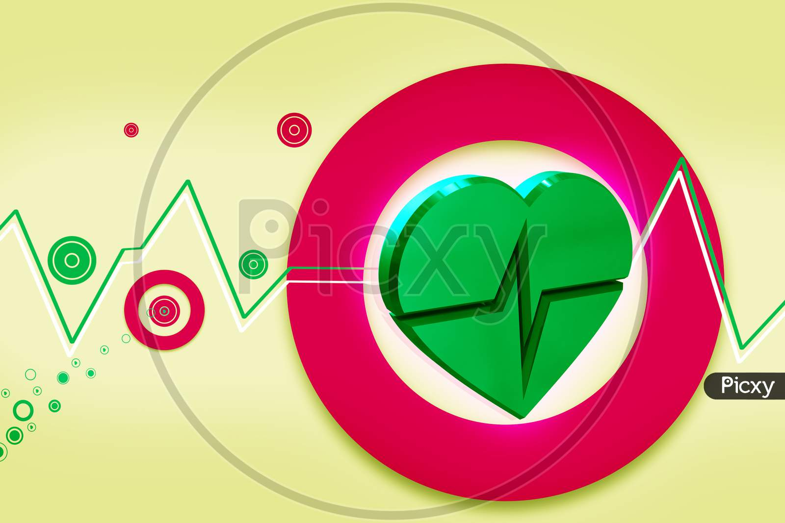 High Quality 3D Rendering Of Heart Ecg In Color Background